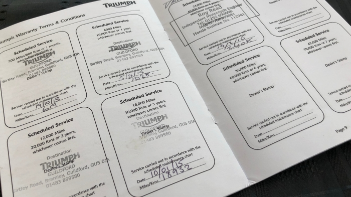 Triumph Service Book